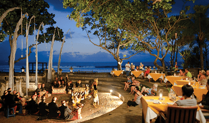 Dining at the Amphitheatre at The Oberoi Beach Resort Bali