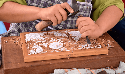 Wood Carving Lesson at The Oberoi Beach Resort Bali