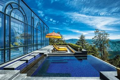 The Outdoor Infinity Whirlpool at Wildflower Hall Shimla in the Himalayas