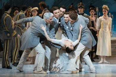 The Australian Ballet performs on stage during the dress rehearsal of Swan Lake at London Coliseum