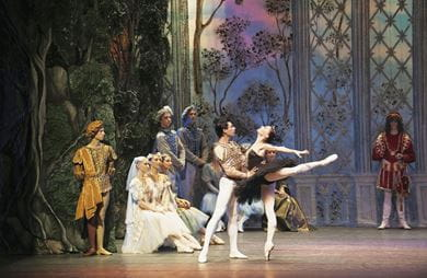 The Russian National Ballet performs the grand reception scene from Swan Lake, where Siegfried is fooled by Odile
