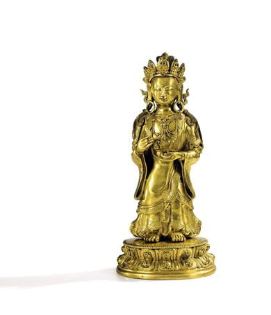 A gilt bronze sculpture titled White Tara, the goddess of long life from the Qing dynasty, on display at the Rubin Museum of Art, Washington DC, the US