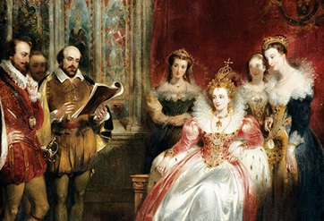 William reading one of his plays to Queen Elizabeth