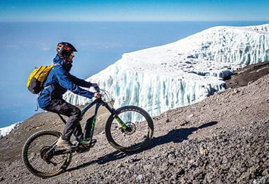 WITH THE E-BIKE ON ALMOST 6000 METERS AT KILIMANJARO Africa