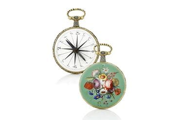 Rare gold and enamel compass circa 1830
