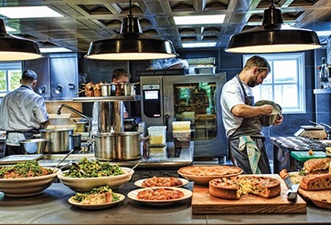The show kitchen at the Drunken Duck is a sight to behold and the chefs put on a dramatic culinary show