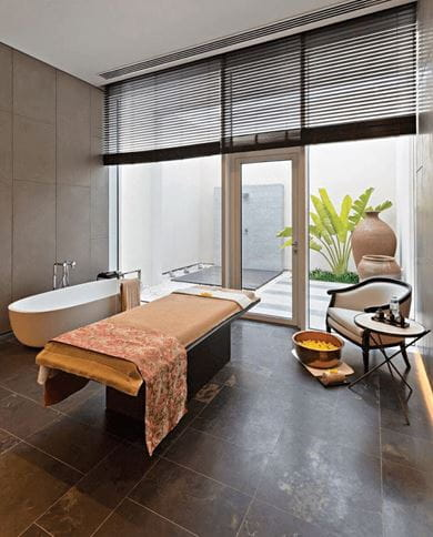 A treatment room at The Oberoi Spa