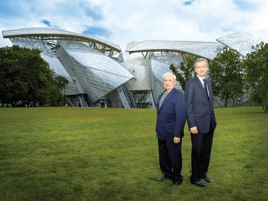 Bernard Arnault, CEO, LVMH and architect Franck Gehry in front of Foundation Louis Vuitton in Paris