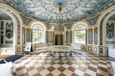 The interiors of Pagodenburg at Nymphenburg Palace, Germany, are covered with 2,000 exquisitely crafted Dutch Delft tiles
