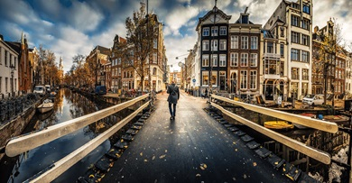 A panoramic view of Amsterdam cityscape