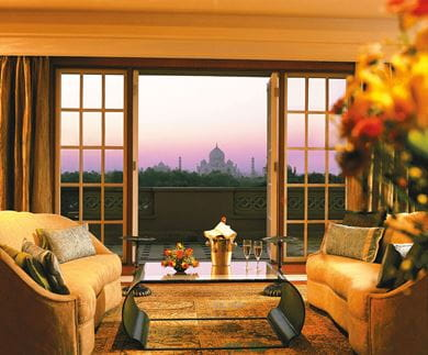 A view of the Taj Mahal from the Kohinoor Suite at The Oberoi Amarvilas Agra