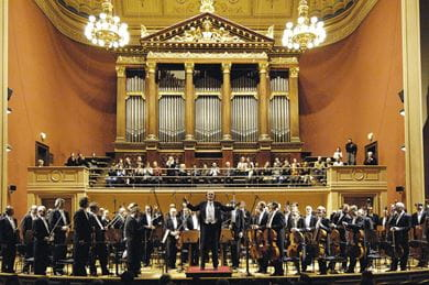The Czech Philharmonic performing at the Rudolfinum concert hall in Prague, Czech Republic