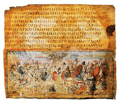 A Greek manuscript dating back to the 5th-6th century AD, representing an episode from Homer's epic, The Iliad