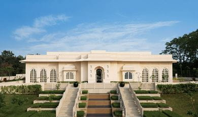 The main facade of The Oberoi Spa at The Oberoi Sukhvilas Resort & Spa, Siswan Forest Range, New Chandigarh