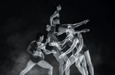 Atomos, a piece by Wayne McGregor, atomises bodies, movement, film, sound and light into miniature shards of intense sensation