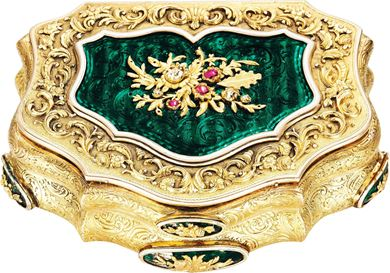 A German jewelled and enamelled  gold snuff box, 1860, courtesy  Christie's
