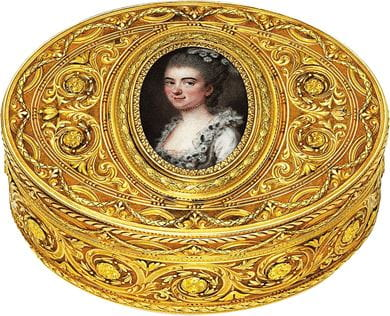 A Louis XVI style two-colour gold and enamel snuff-box, 1731-1806, courtesy Christie's
