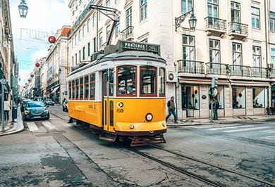 Vintage tram in the city center of Lisbon