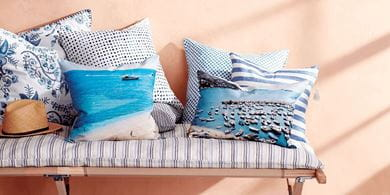 Printed photo-fabric sewn onto cushions can add a personalised touch to your décor