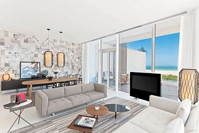 The living room in a Premium three-bedroom Villa at the resort