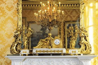 A gilt-bronze and white marble matched mantel clock garniture, French, circa 1860