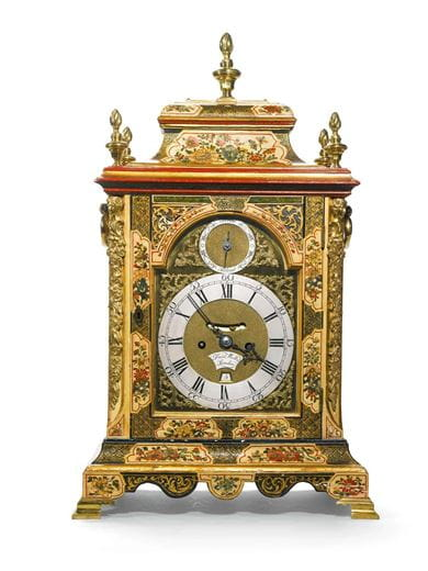 A George II cream japanned quarter repeating table clock by Francis Wells, London, dated 1760. Courtesy, Sotheby's