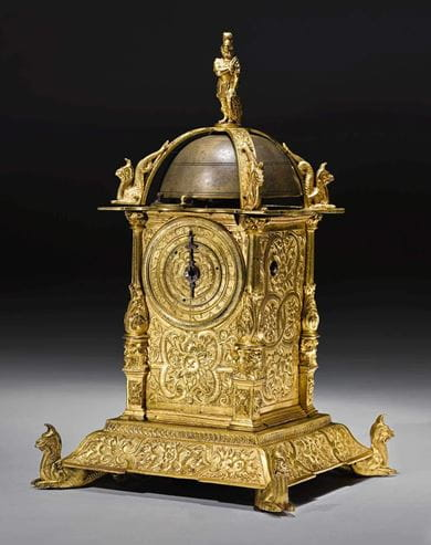 Renaissance table clock with alarm, probably from the Germany, dating between 1600-1620. Courtesy, Sotheby's
