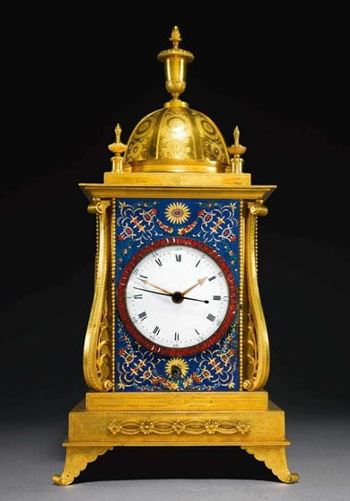 A George III ormolu and enamel quarter striking musical table clock for the Chinese market by John Mottram from, London. Courtesy, Sotheby's