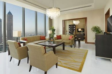 Bedroom of the Presidential Suite of The Oberoi, Dubai, with the magnificent view of Burj Khalifa