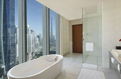 The Presidential Suite's bathroom with a view