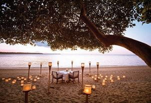 Romantic Sunset Dinner by the Beach at The Oberoi Beach Resort Lombok