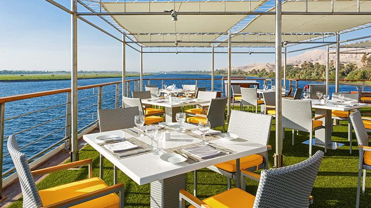 Poolside Restaurant at The Oberoi Philae Luxury Nile Cruiser
