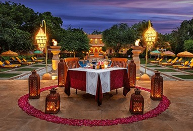 Poolside Dinner at The 5 Star Resort, The Oberoi Rajvilas Jaipur