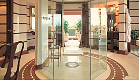 Octagonal Glass Panelled rain shower in Bathroom at Luxury Suite of The Oberoi Amarvilas, Agra