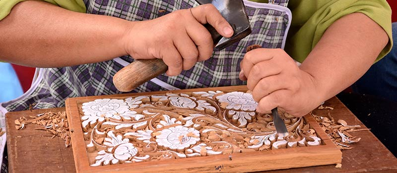 Wood Carving Lesson at The Oberoi, Bali