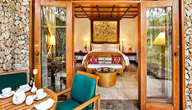 Luxury Lanai Room Laid in The Hindu Swastika Design, The Auspicious Layout With Thatched Roof at The Oberoi, Bali