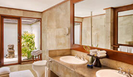 Luxury Lanai Rooms Have Sunken Marble Bathroom Across a Private Garden & Separate Shower Cubicle at The Oberoi, Bali