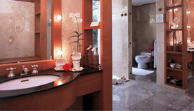 Magnificent Bathroom With Sunken Marble Bathtub & Separate Vanity Are in The Luxury Villa - The Oberoi, Bali