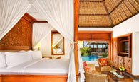 Luxury Lanai Room Laid in Hindu Swastika Design With King Size Bed, Work Space & Seating Area at The Oberoi, Bali