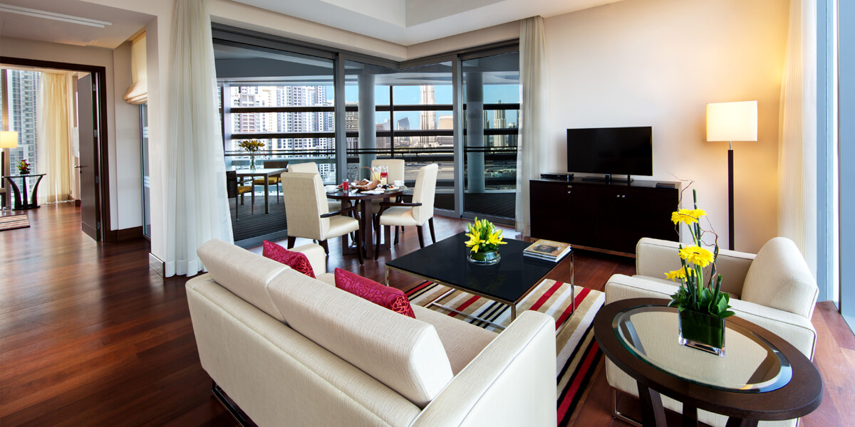 Deluxe Suite With Private Balcony, Living, Dining, & a Work Space at The Oberoi, Dubai