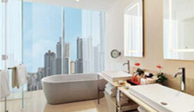 Exquisite Bathroom Viewing Burj Khalifa & Free-Standing Bathtub in The Premier Rooms at The Oberoi, Dubai