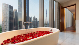 Luxurious Bathroom With View of Burj Khalifa at The Oberoi, Dubai