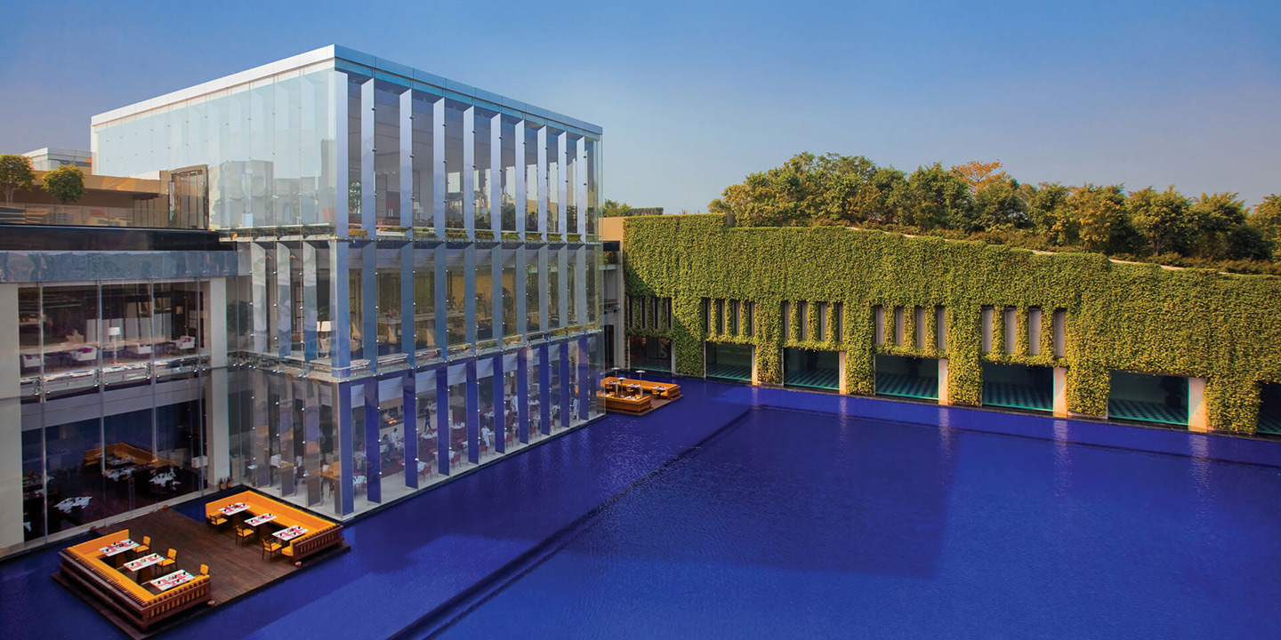 Arial View Of The Floating Deck On Pool Oberoi Gurgaon