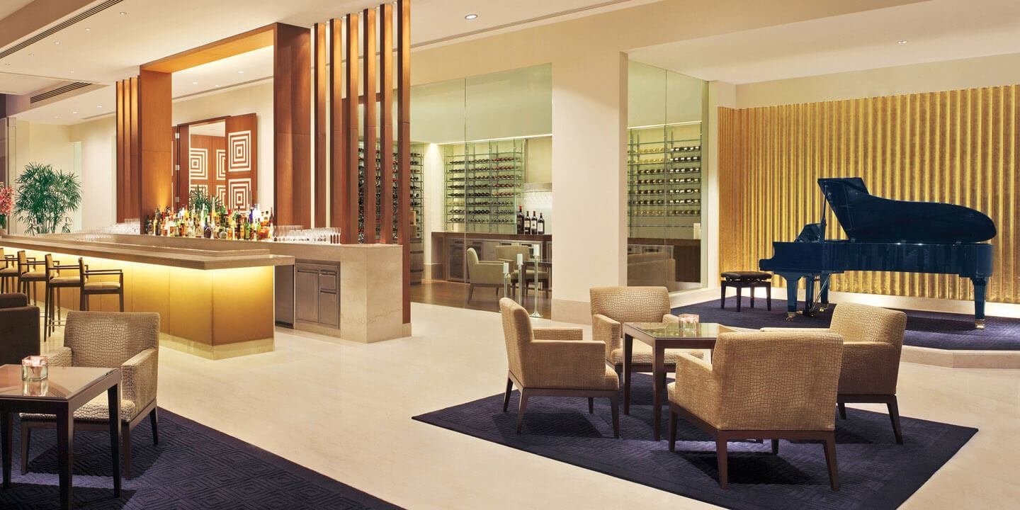 The Piano Bar, Wine & Cocktail Collection While Cigar Lounge Offers Range of Hand Rolled Cigars at The Oberoi, Gurgaon