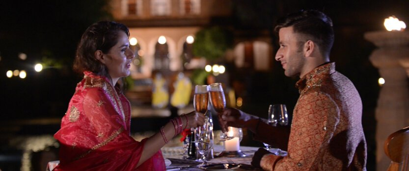 Dining in Poolside in Traditional Lamp Lights - The Oberoi Rajvilas, Jaipur