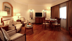 Vast Layout of Executive Suites - Twin Bedroom With Bathroom, Shower Room, Living Space & Dining at The Oberoi, Madina