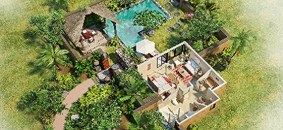 View the 3-D Room Plan of Luxury Villa with Private Pool at The Oberoi, Mauritius