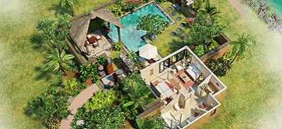 View the 3-D Room Plan of Premier Villa with Private Pool at The Oberoi, Mauritius