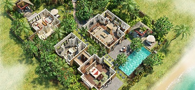 View the 3-D Room Plan of Presidential Villa with Private Pool at The Oberoi, Mauritius