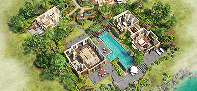 View the 3-D Room Plan of Three Bedroom Royal Villa with Private Pool at The Oberoi, Mauritius